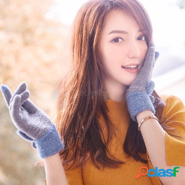 Guantes de pantalla táctil de las mujeres lindo vellón espesar invierno de punto guantes de conducción cálidos