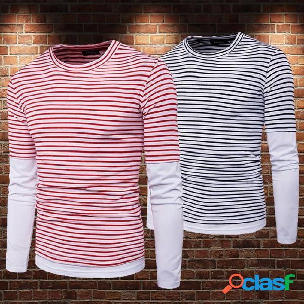 Moda simple falso dos piezas tira costura color manga larga camiseta de los hombres, camisa de base masculina ocasional superior negro / m