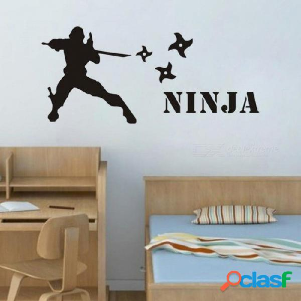 Nombre personalizado etiqueta de la pared murales de ninja decoración para el hogar arte de la pared tatuajes de arte habitación de vinilo arte decoración negro