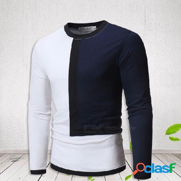 Otoño invierno l forma doble costura color cuello redondo manga larga camiseta de los hombres camiseta top negro / m