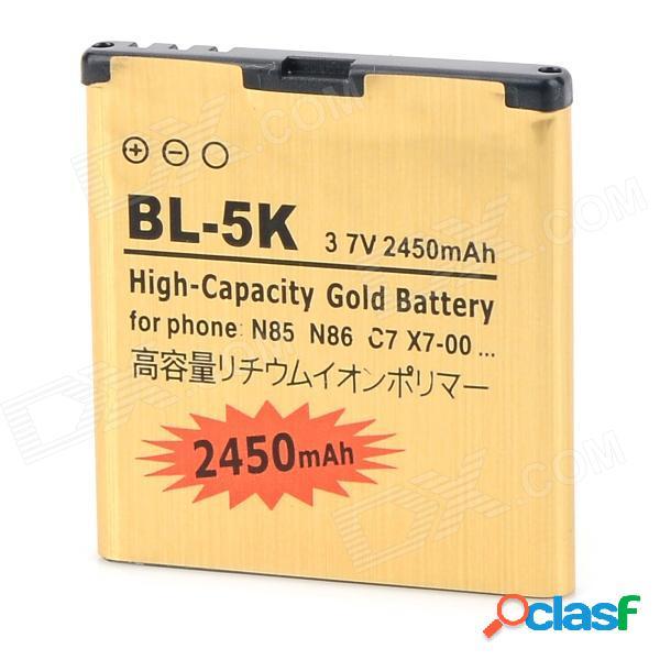 Bl-5k-gd 3.7v 1100 mah batería de ion de litio para nokia n85 / n86 / 8mp / c7 / x7-00 + más - dorado