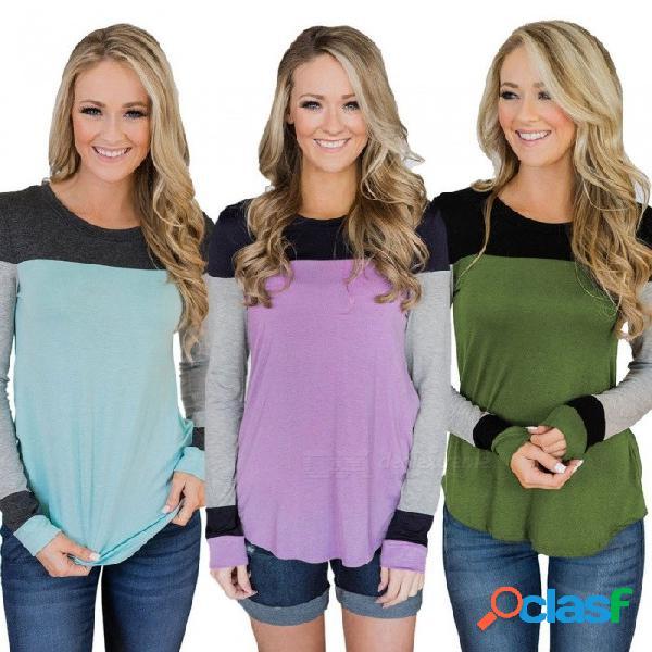 Camisas delgadas suaves del remiendo de la manga del o-cuello de la camiseta del otoño invierno para el azul de cielo de las mujeres