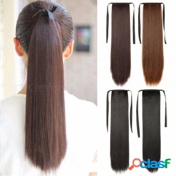 Cordón de fibra de alta temperatura, cordón largo y recto, cola de caballo, extensiones de cabello sintético falso para mujeres # 2/18 pulgadas