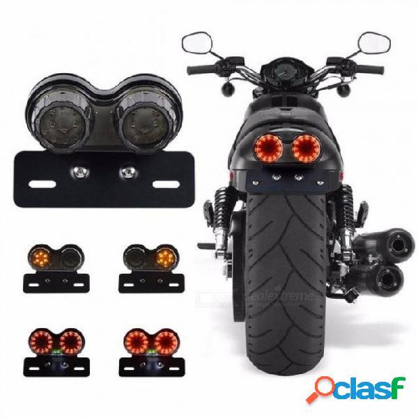 Motocicleta señal de giro freno luz led matrícula luces traseras led luces traseras de freno para harley bobber cafe racer atv negro
