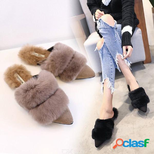 Piel cinturón doble fox zapatillas de felpa calientes pelo de conejo dedo del pie puntiagudo diapositivas pisos pelo bola mocasines de invierno