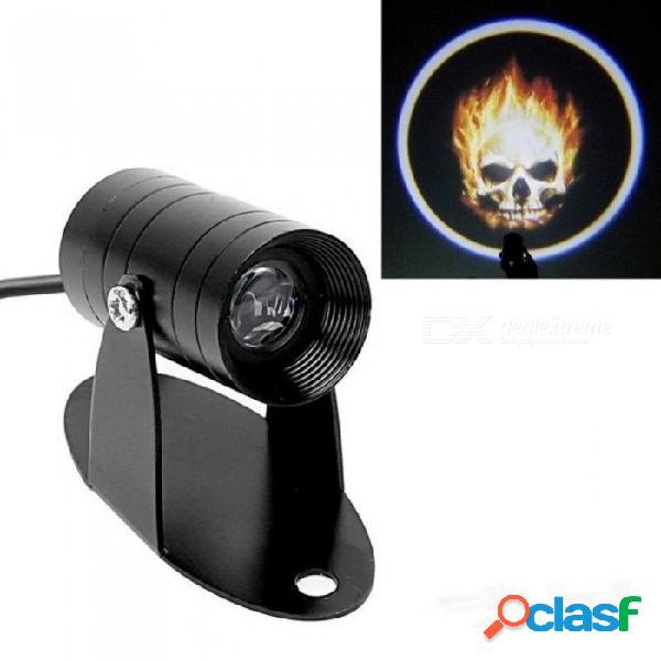 Universal moto logo láser proyector fantasma jinete llameante cráneo niebla lámpara reacondicionar motocicleta 3d led logo luz luz trasera iluminación negro