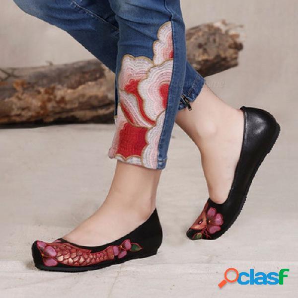 Zapatos planos de cuero estilo casual de viento nacional, bordados hechos a mano zapatos de mujer sin cordones mocasines mocasines negro / 40
