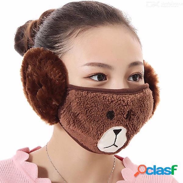 2 en 1 oso de dibujos animados de felpa cálida protección para los oídos orejeras invierno algodón divertidos mascarillas para mujeres