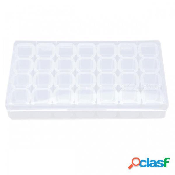 28 slots caja de almacenamiento de plástico transparente herramientas de arte de uñas cuentas de joyería de diamantes de imitación caja de presentación caja vacía
