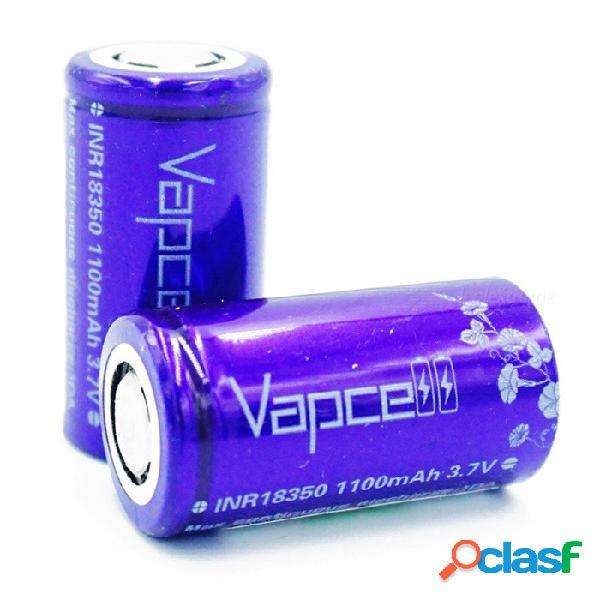 Batería de litio vapcell inr18350 1100mah, batería recargable continua de 10 a 3.7v - violeta / 2 piezas