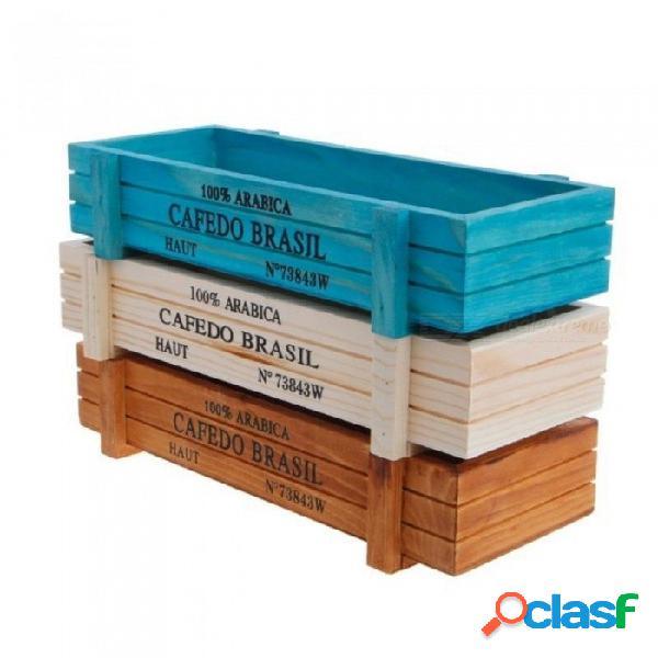 Caja de escritorio de almacenamiento multifuncional de madera para flores plantas de macetas escritorio organizador de la pluma jardín decoración del hogar blanco