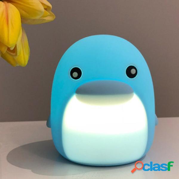 Colorido delfín led luces de noche sensor táctil de silicona lindo mini dormitorio luces decoración para el hogar