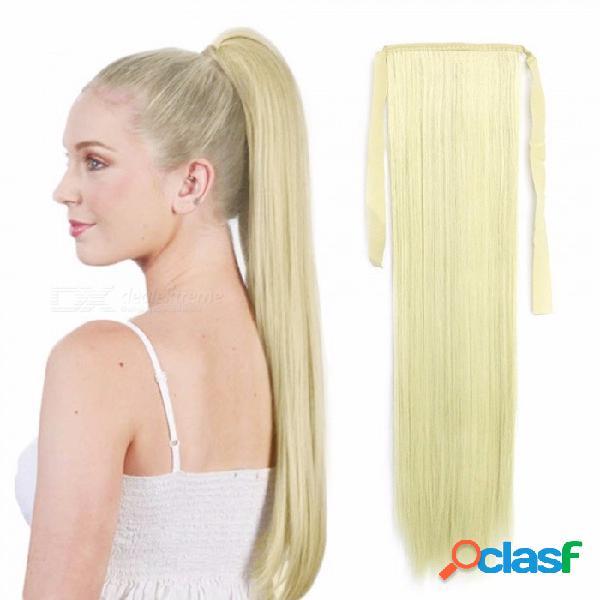Cordón de fibra de alta temperatura cordón recto cola de caballo, extensiones de cabello sintético falso para las mujeres # 613 / 22inches