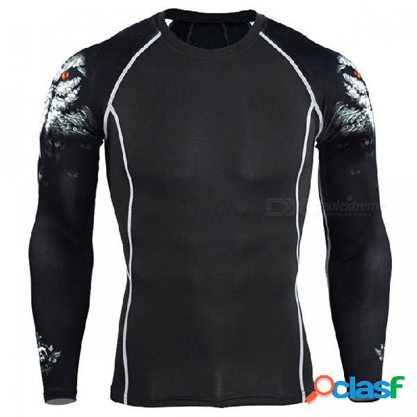Hombres de compresión de manga larga para correr deportes camiseta de secado rápido, levantamiento de pesas levantamiento de pesas capa de base gimnasio gimnasio camiseta ajustada tops l / c1