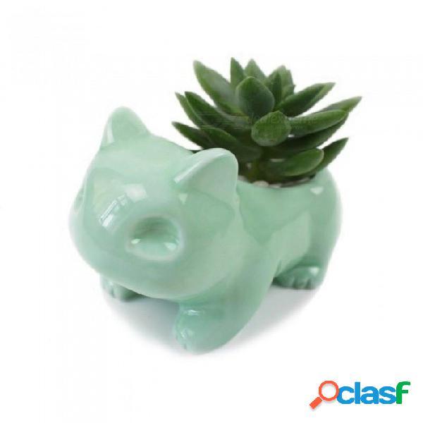 Maceta de cerámica kawaii maceta suculenta bulbasaur linda maceta de flores blanco / verde con el agujero lindo verde