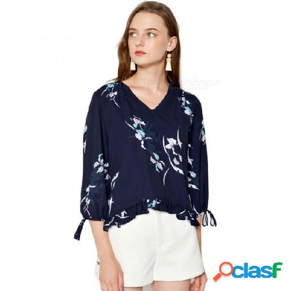 Otoño nuevas camisas con cuello en v tres cuartos manga linterna estampado floral volantes blusas para mujeres azul marino / s