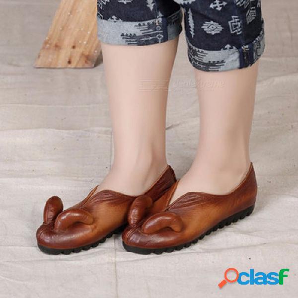Zapatos retro de cuero suave ocasionales personalizados retro vintage, mujeres de primavera zapatos sin cordones mocasines mocasines chocolate / 40