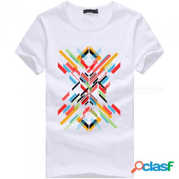 Camiseta de manga corta de algodón casual para hombres de la serie de barras de color 3d para hombre - blanco