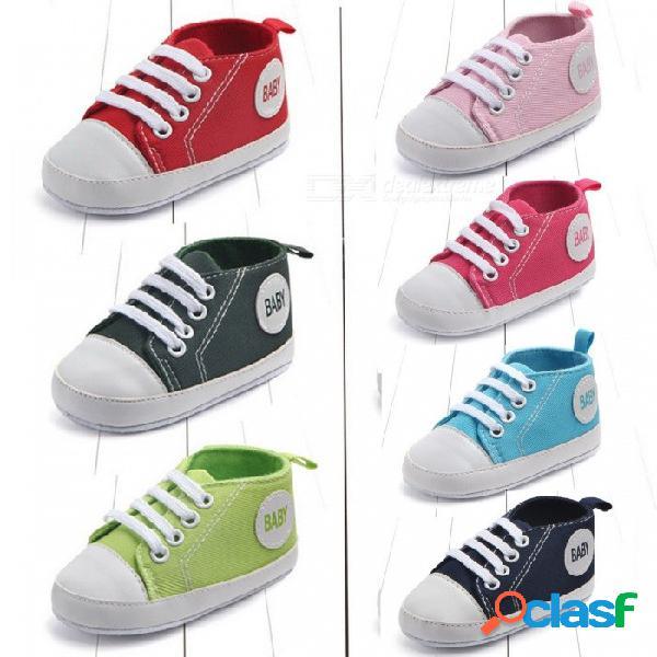 Lona zapatillas clásicas bebés niños niñas primeros caminantes zapatos infantil niño suela suave antideslizante zapatos de bebé verde oliva / 4