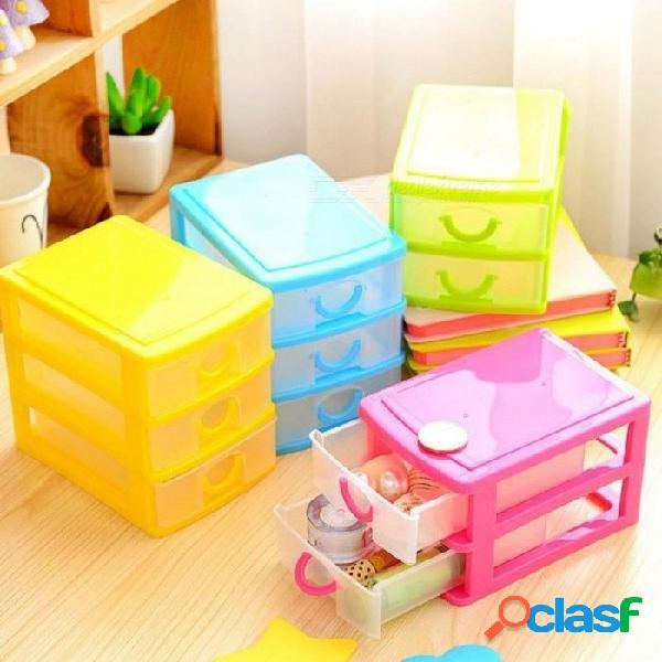 Práctica desmontable diy caja de almacenamiento de escritorio caja de almacenamiento de plástico transparente organizador de joyas armarios para pequeños objetos de 3 capas de color verde