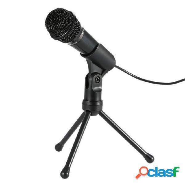 Professional 3.5mm condensador micrófono sonido estudio podcast w / stand para skype desktop pc laptop