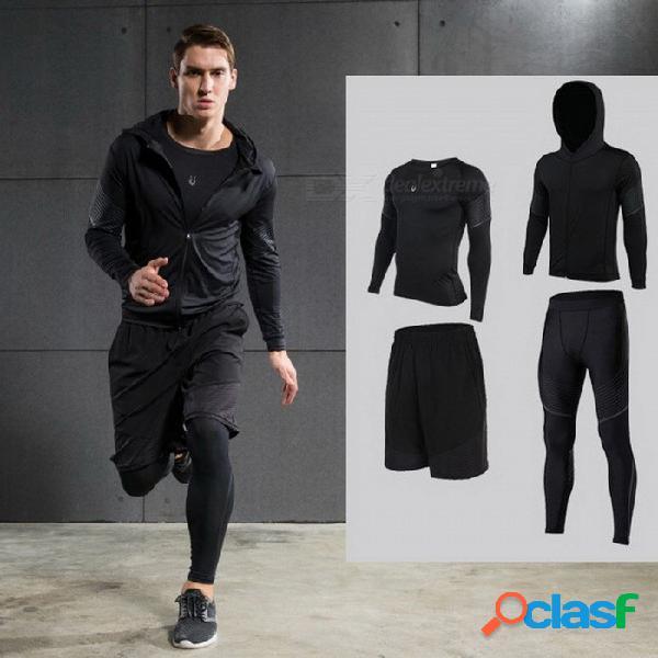 Sistema de funcionamiento con capucha de la compresión de los hombres, pantalones cortos de la chaqueta de la camisa de la manga larga y pantalones para los corredores, juego de las medias de