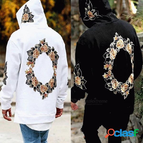 Sudadera con capucha con estampado floral para hombre moda casual manga larga con capucha abrigo para hombres negro / xxl
