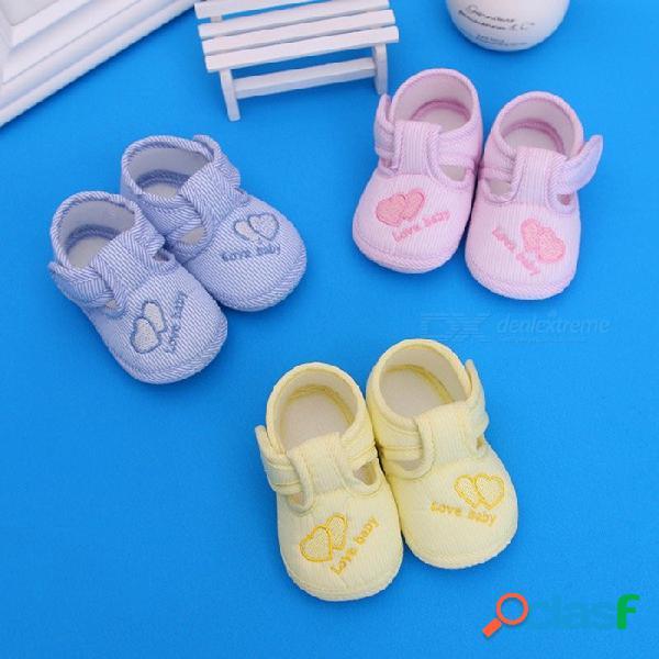 Tela de algodón linda con estampado de corazones bebés niños niñas primeros zapatos para caminar niño pequeño suave suela respirable zapatos de bebé rosa / 11