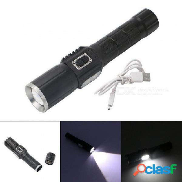 Usb recargable t6 led linterna al aire libre brillante zoom antorcha linterna con luz de advertencia blanco / negro
