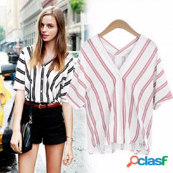 Verano de la manera nueva camiseta de algodón con cuello en v de rayas verticales dobles, camisa suelta de manga corta de batwing para mujer rosa / xl