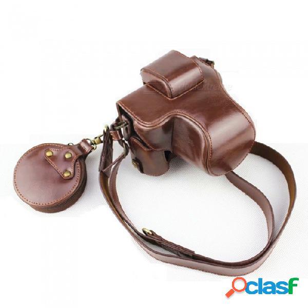 Bolsa de almacenamiento de cuero jedx, funda de cámara, edición de lujo para canon eosm50 (15-45mm) - marrón