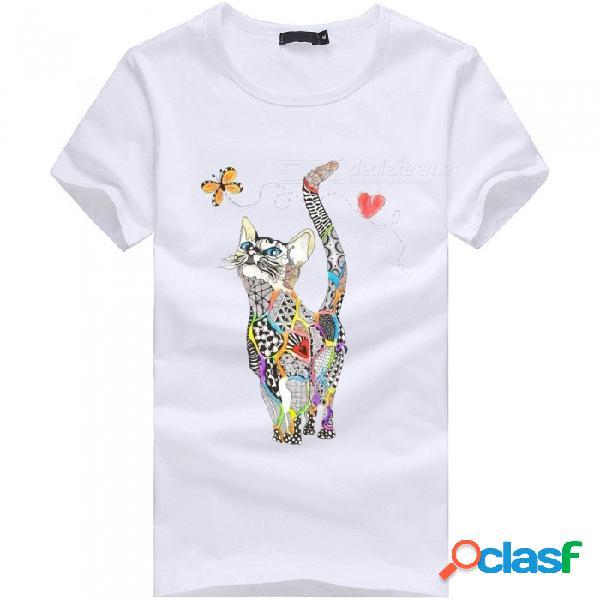 Camiseta de manga corta de algodón casual para hombre serie 3d de la serie mariposa de gato para hombre