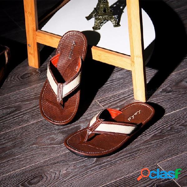 Chanclas de playa de verano moda casual antideslizante antideslizante sandalias a prueba de golpes antideslizantes para hombres negro / 40