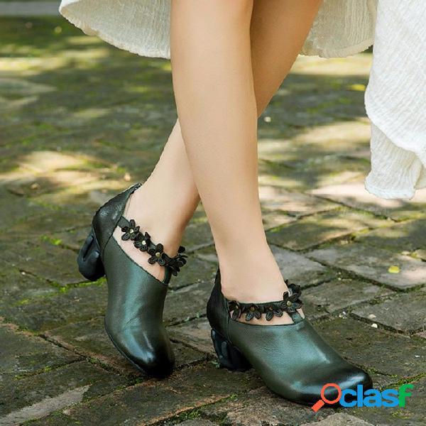 Hecho a mano de cuero genuino retro zapatos de mujer punta redonda floral elegante tacones altos zapatos literarios verde del ejército para las mujeres verde ejército / 40