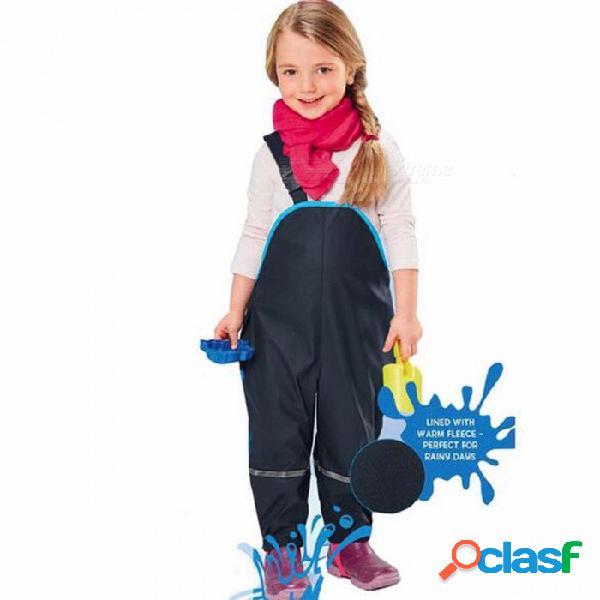Pantalones de lluvia niños pantalones impermeables acolchados niños a prueba de viento al aire libre niñas piezas de esquí monos traje de esquí pantalones al aire libre 7 t / azul