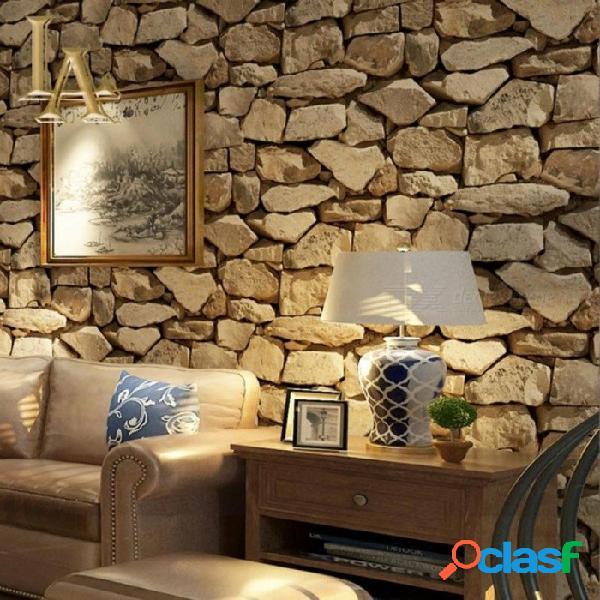Papel pintado de la piedra del ladrillo del vintage 3d para las paredes caseras rollos del papel de pared para el restaurante dormitorio sala de estar sofá tv fondo decoración