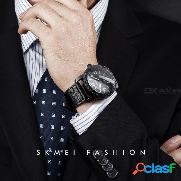 Reloj casual de cuarzo con correa de cuero para hombre de 43 mm skmei, reloj impermeable con correa de cuero