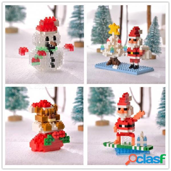 Serie de navidad santa claus muñeco de nieve de plástico abs pequeños bloques de construcción de bricolaje juguetes educativos ensamblados para niños claro