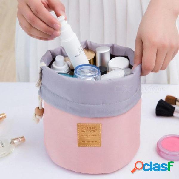Bolso cosmético del recorrido cosmético del bolso del barril impermeable bolsa de lavado del bolso del almacenamiento del bolso de la colada de nylon capacidad azul grande