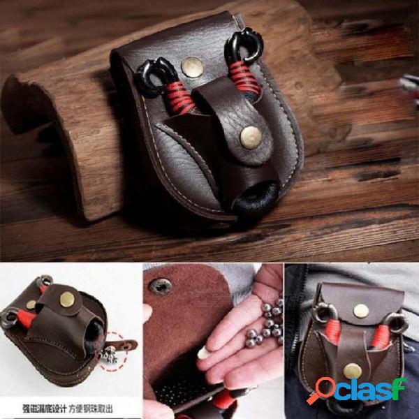 Funda de cuero bolsa de la bolsa de la cintura para tirachinas y bolas de acero bolsillo tirachinas catapulta bolsa de caza deportiva arco accesorios
