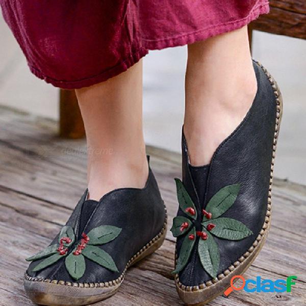 Hecho a mano retro cuero genuino zapatos de mujer estampado floral punta redonda superficial cómodo mary janes zapatos delgados para las mujeres negro / 40
