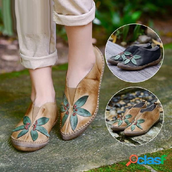 Hecho a mano retro cuero genuino zapatos de mujer estampado floral punta redonda superficial cómodo mary janes zapatos delgados para las mujeres de color caqui / 40