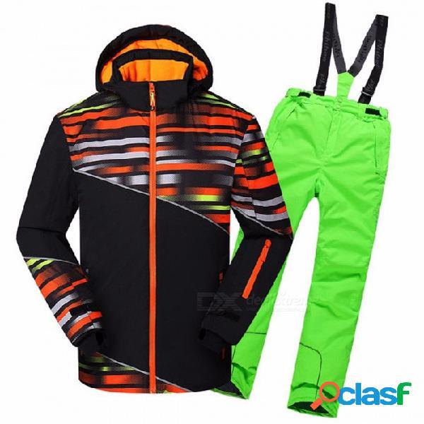 Invierno niño traje de esquí hombres al aire libre a prueba de agua chaquetas a prueba de viento escalada nieve esquiar ropa conjunto trajes a juego de la familia 16 t / 81736 skyblue