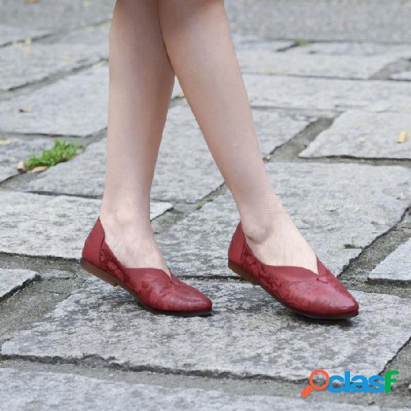 Zapatos de mujer hechos a mano de cuero genuino retro hechos a mano puntiagudos impresos poco profundos cómodos zapatos delgados literarios para mujeres de color marrón / 37