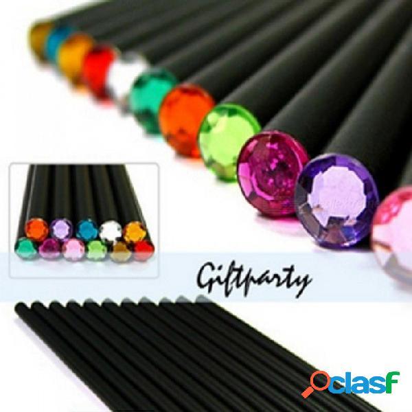 (12 unids / set) lápiz hb lápiz de color de diamante artículos de papelería suministros de dibujo lindos lápices para escuela escuela de tilo escuela lindo al azar