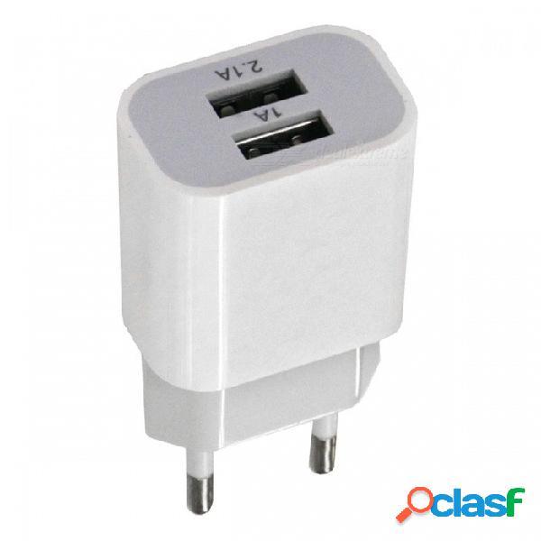 Adaptador de corriente de cabeza de carga usb dual portátil de 2a - blanco (enchufe de la ue) / ac100-240v)