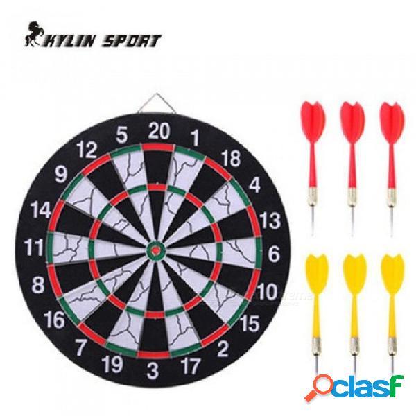 Indoor 15 pulgadas deportes doble objetivo dardo magnético flocado tablero de dardos doble engrosamiento con color negro y blanco 15 pulgadas