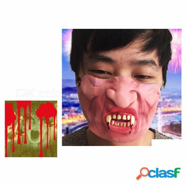 Máscara fiesta de halloween tontos día zombie estilo látex máscara traje de cosplay media cara máscara rosa