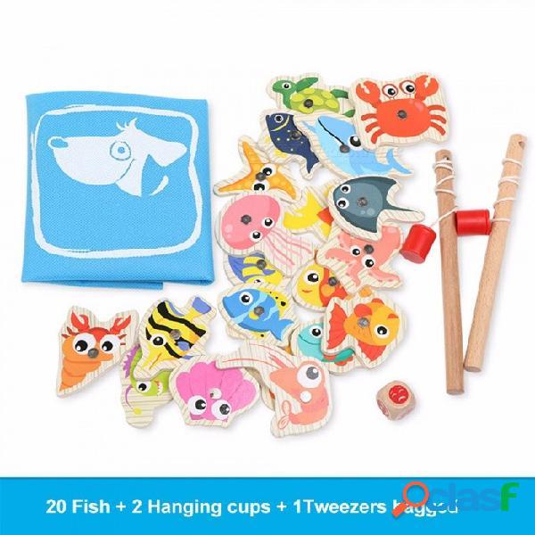 Bebé juguetes educativos peces de madera juego de juguete de pesca magnética juego educativo niño cumpleaños / regalo de navidad multicolor