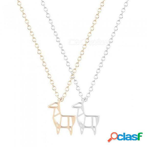 Collar de ciervos original de origami para mujeres y niñas. regalo lindo 30 pcs. / lote con oro y plata color oro opcional.